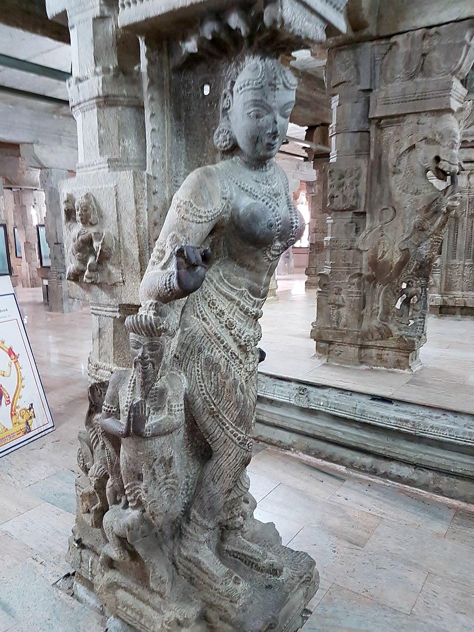 Carved pillar, Thousand-Pillared Hall, Meenakshi Temple, Madurai (3) (37469458076)
