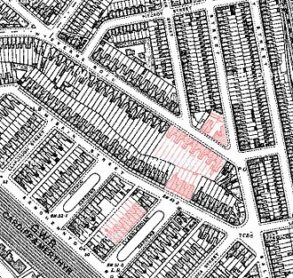 Cardiff Blitz - Area of damage caused in Cathays by 2 parachute landmines killing 23.