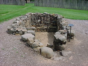 Bethabara Historic District - Excavated cellar of the 1762 Smith's House.