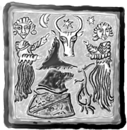 Outline of an image on stove remains excavated at the Piatra Neamţ Fortress, showing the Wisent/Aurochs coat of arms of Moldavia and the broken coat of arms of the Kingdom of Hungary.