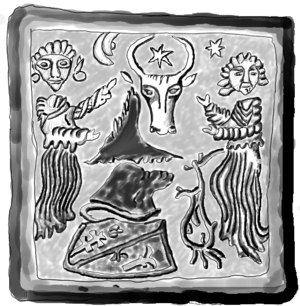 Târgu Neamț - Image discovered from the stove's remains in Neamț Fortress, showing Zubr/Aurochs the coat of arms of Moldova.