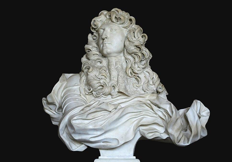 Château de Versailles, salon de Diane, buste de Louis XIV, Bernin (1665) 03 black bg