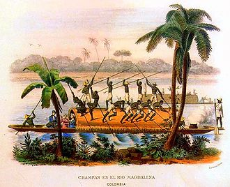 "Magdalena River - ""Champán on the Magdalena"", c. 1860 aquatint by Ramón Torres Méndez."