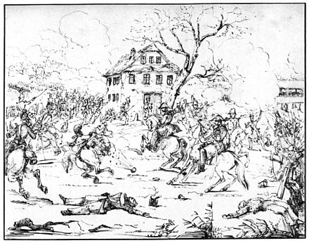 Pen and ink drawing of Federal troops fighting at the bridge of Gislikon