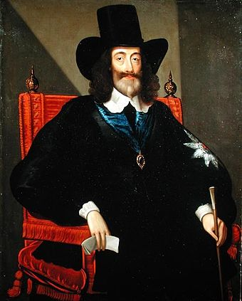 Charles at his trial, by Edward Bower, 1649. He let his beard and hair grow long because Parliament had dismissed his barber, and he refused to let anyone else near him with a razor. Charles I at his trial.jpg