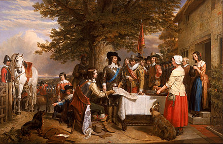 A nineteenth-century painting depicting Charles (centre in blue sash) before the battle of Edgehill, 1642 Charles Landseer - The Eve of the Battle of Edge Hill, 1642 - Google Art Project.jpg