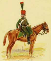 Painting of a man on horseback with a red shako on his head. He wears a green hussar jacket and green breeches and had a carbine at his side.