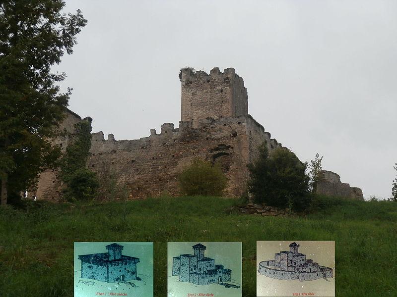 Château de Montespan, avec les étapes de construction du XIIème, XIIIème au XIVème siècle