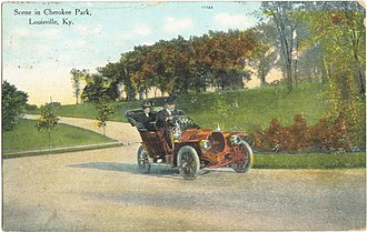 Cherokee Park - Postcard of a scene from Cherokee Park at the base of Baringer Hill, early 20th century