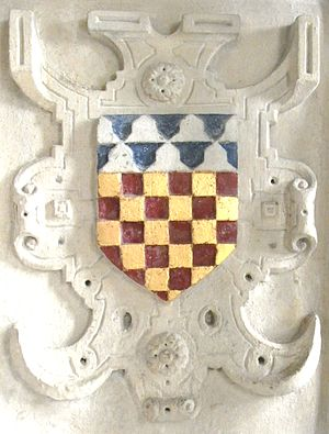 John Chichester (died 1569) - Arms of Sir John Chichester  shown within a strapwork surround from his monument in Pilton Church: Chequy or and gules, a chief vair