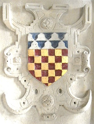 Console (heraldry) - A shield placed within a Strapwork console, English, 1569