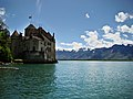 Chillon Castle view from Lake Geneva shore 3.jpg