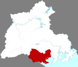 Vị trí của Đông Hưng (đỏ) tại Phòng Thành Cảng
