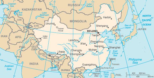 China CIA map