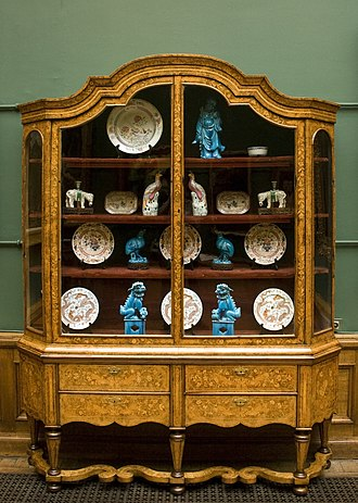 China cabinet - An old china cabinet at the Charlier Museum in Brussels