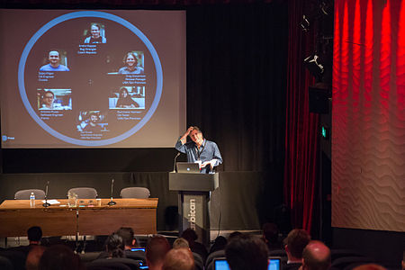 Chris McMahon and Finding and fixing software bugs for Wikipedia session at Wikimania 2014 (1).jpg