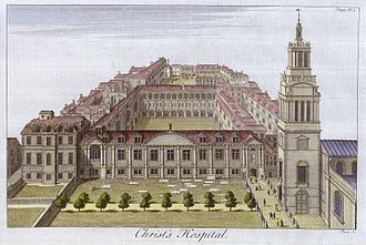 Christ's Hospital's buildings in London in 1770, with the tower of Christ Church Greyfriars at right Christ's Hospital, engraved by Toms c.1770..jpg
