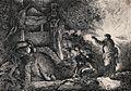 Christ raises Lazarus from his tomb. Etching by G.B. Castigl Wellcome V0034883.jpg