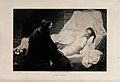 Christ sits at the bedside of Jairus's sickening daughter. E Wellcome V0034922.jpg