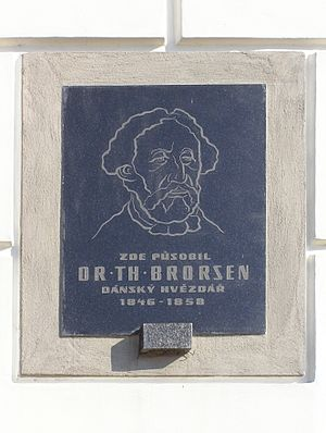 Theodor Brorsen - Commemorative plaque of Th. Brorsen on the castle wall in Žamberk