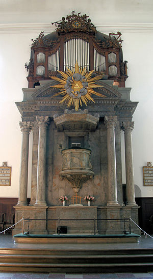 Christian's Church, Copenhagen - Image: Christians Kirke Copenhagen altar pulpit organ
