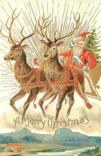 A 1907 Christmas card with Santa and some of his reindeer Christmas postcard 1907.jpg