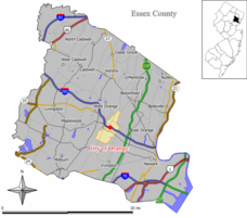 Map of City of Orange in Essex County. Inset: Location of Essex County highlighted in the State of New Jersey.