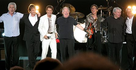 Cliff Richard and The Shadows encore line-up Wembley Arena 23OCT2009 cropped.jpg
