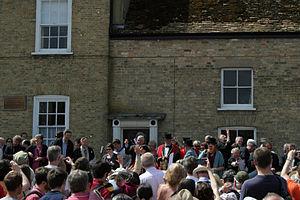 Reach, Cambridgeshire - Councillors throwing pennies to the crowd at Reach Fair 2013