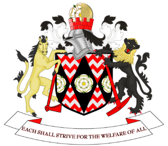 The coat of arms of the former South Yorkshire County Council. Coat of arms of South Yorkshire County Council.png
