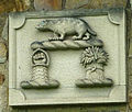 Coat of arms on a cottage, Claughton (geograph 3974491).jpg