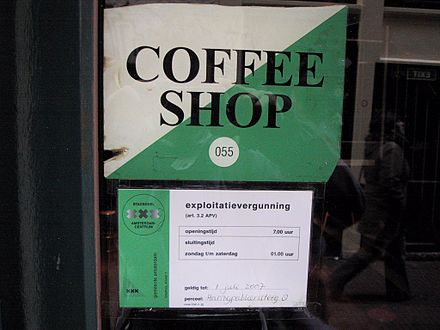 City license for a cannabis coffee shop in Amsterdam, Netherlands. Coffee shop license AMS mirror.JPG