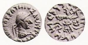 "Apollophanes - Silver drachm of king Apollophanes (r. 35-25 BCE). Obv: Helmeted bust of king. Greek legend: BASILEOS SOTEROS APOLLOPHANOU ""Of Saviour King Apollophanes"". Rev: Pallas with aegis and thunderbolt. Kharoshthi legend: MAHARAJASA TRATARASA APALAVINASA ""Saviour king Apollophanes""."