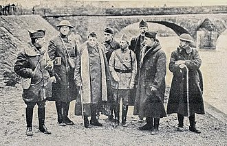 Edward Lawrence Logan - Colonel Logan (second from left) and staff, on the way to the Western front, March 1918