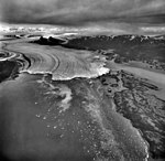 Columbia Glacier, Calving Terminus with Oblique View of Valley Glacier, Heather Island, September 9, 1973 (GLACIERS 1177).jpg
