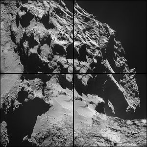 Comet 67P on 24 October 2014 NavCam montage.jpg