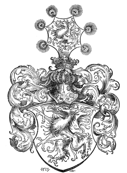 Fig. 333.—Arms of Styria. (Drawn by Hans Burgkmair, 1523.)