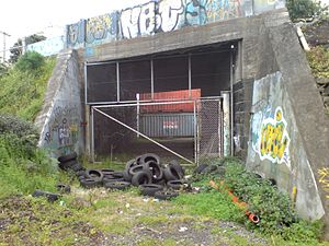 Onehunga Branch - The blocked former underpass of the branch line at the Onehunga Port.