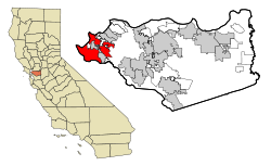 Contra Costa County California Incorporated and Unincorporated areas Richmond Highlighted.svg