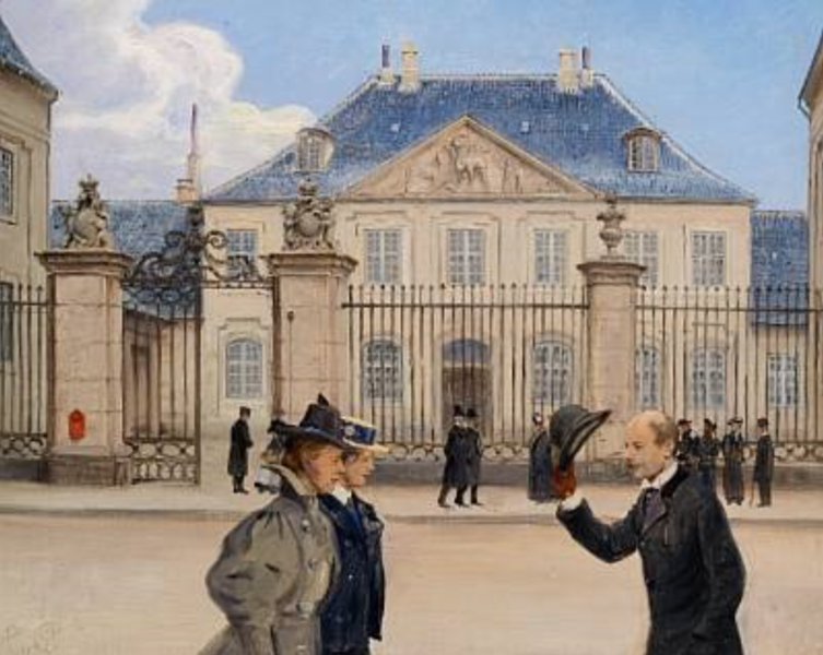 File:Copenhageners promenading in Bredgade in front of the Old Frederik's Hospital.png