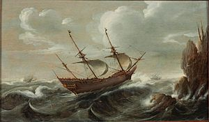 Cornelis Verbeeck - A ship in stormy seas, 1625, collection Scheepvaartmuseum