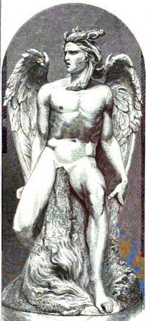 Costantino Corti - Engraving of the colossal statue Lucifer by Costantino Corti