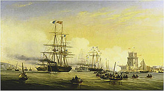 Portuguese Navy - The mixed propulsion corvette Bartolomeu Dias and other Portuguese warships arriving at the Tagus with Queen Stephanie on board, in 1859