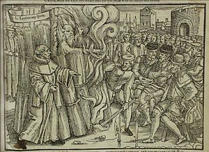 Cranmer's martyrdom, from John Foxe's book (1563)