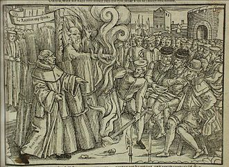 History of Christianity in Britain - Thomas Cranmer, archbishop of Canterbury and author of the first two books of common prayer, being burned at the stake during the Marian Persecutions, from John Foxe's Book of Martyrs.
