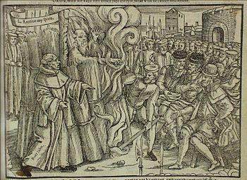 Thomas Cranmer at the stake (John Foxe's Book of Martyrs)