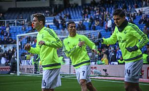Casemiro - Casemiro warming up with Mateo Kovačić (left) and Cristiano Ronaldo for Real Madrid during the 2015–16 season