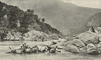 Sutlej - Image: Crossing the Sutlej near Simla upon inflated animal skins