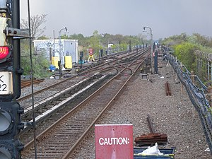 Broad Channel (IND Rockaway Line) - This view shows the crossovers that lead to the tail tracks on the right, and to the track used to test new trains on the left.