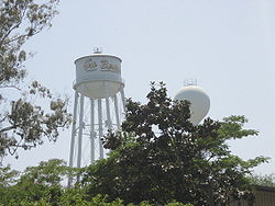 """The """"Go Beach!"""" water tower."""
